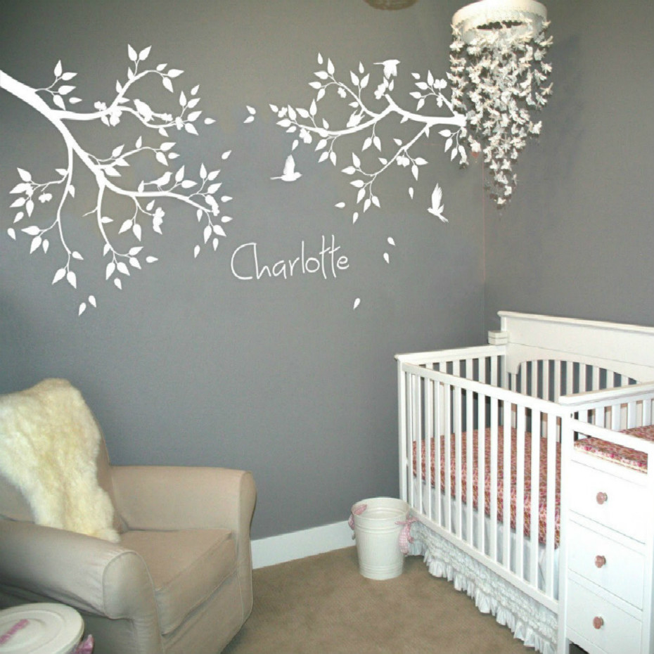 2 Tree Branches Birds Flower Wall Decal Personalized Name White Tree Wall  Stickers Decor Baby Kids Room Wallpaper Size 35*83 in