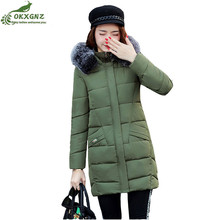 Winter women jacket coat medium long thickening warm slim Down cotton Outerwear women Big yards casual coat clothing OKXGNZ
