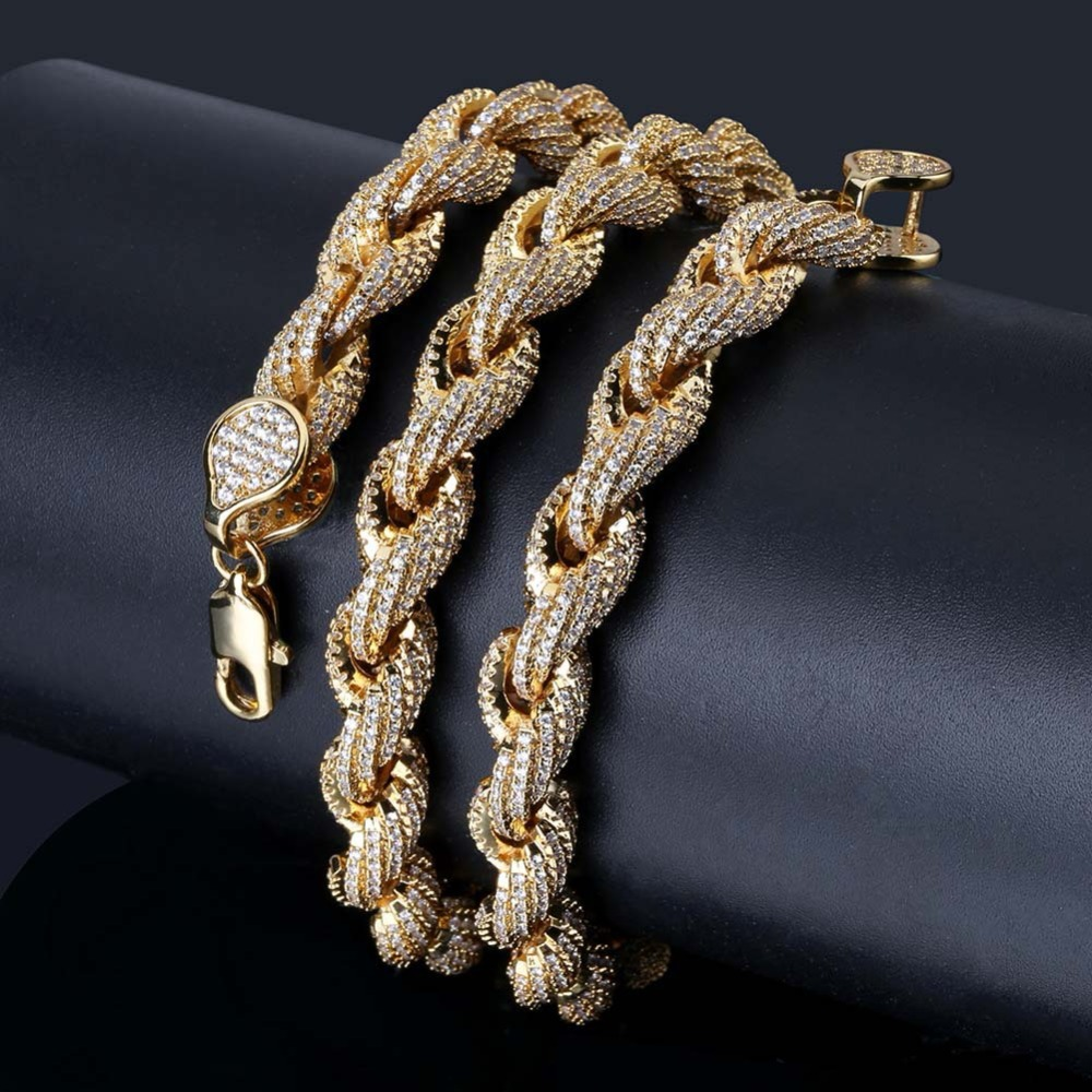Top Quality Fully Cubic Zirconia Twisted Chain Mens Women HopHop Rapper Iced Out Bling Bling Twist Necklace Punk 8mm 18/22Top Quality Fully Cubic Zirconia Twisted Chain Mens Women HopHop Rapper Iced Out Bling Bling Twist Necklace Punk 8mm 18/22