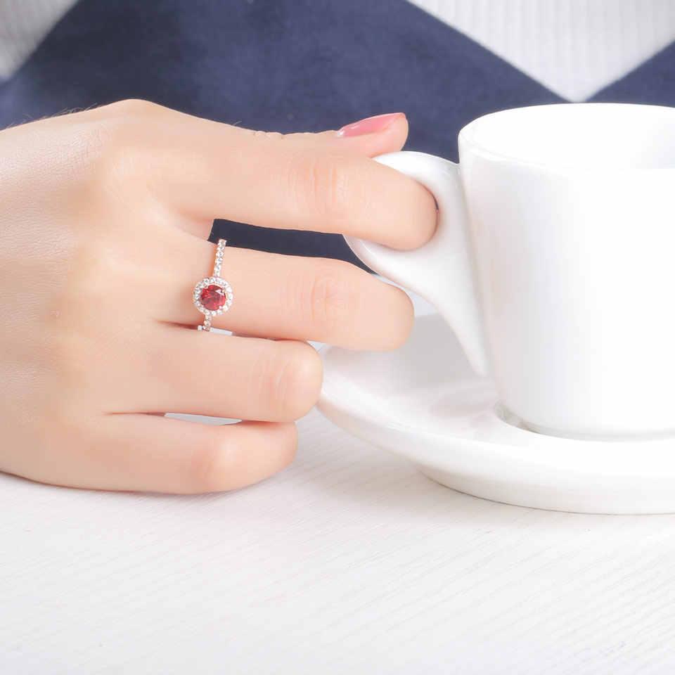 UMCHO รอบสร้างสีแดง Garnet Birthstone แหวน Solid Real 925 เงินสเตอร์ลิงแหวนแหวนหมั้นของขวัญเครื่องประดับ Fine
