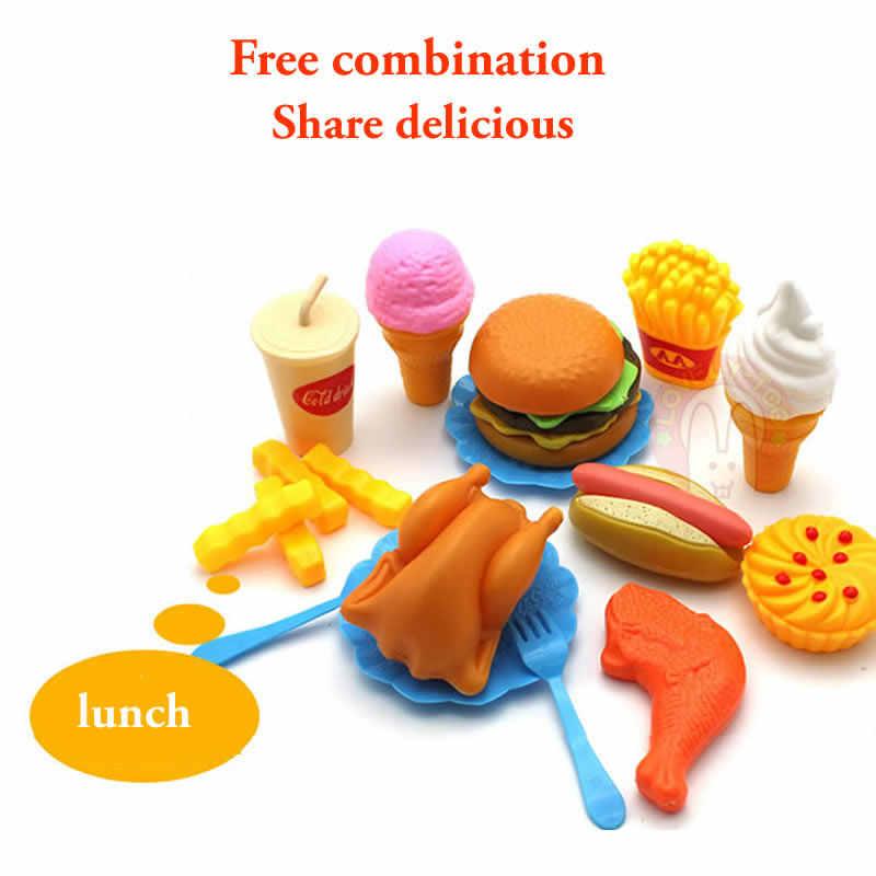 34 sztuk zabawki kuchenne dla dzieci cięcie plastikowe owoce warzywa lody pić zestaw żywności Kat udawaj zagraj w edukację zabawka dla dzieci