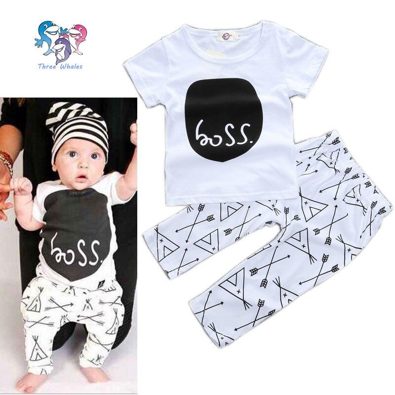 Été bébé garçon nouveau - né marque mode tenues coton lettre chemises et  pantalons infantile Bebe garçon vêtements bébé cadeau ensemble costumes 938dc0fcd82