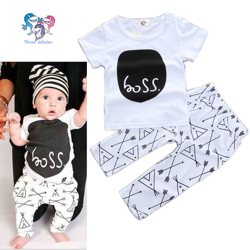 Summer Baby Boy Newborn Brand Fashion Outfits Cotton Letter Shirts ...