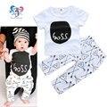 Verano del bebé recién nacido de la marca moda trajes carta de algodón camisas y pantalones infantil Bebe Boy ropa del bebé regalo trajes