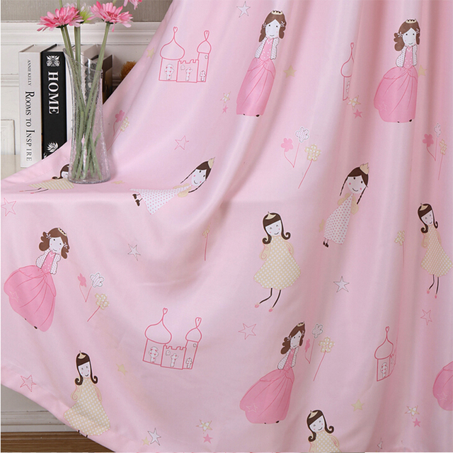 Pink Princess Blackout Curtains For Children Room Baby