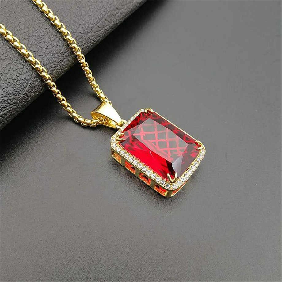 Modna męska Iced Out Hip Hop wisiorek naszyjnik biżuteria złoty kolor czerwony czarny micro pave duży kwadrat kamień wisiorek łańcuch naszyjnik