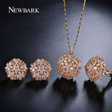 NEWBARK Romantic Trendy Set Jewelry Flower Design Water Drop CZ Wedding Jewelry Sets For Brides Gold Plated Jewelry