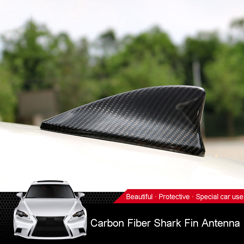 QHCP Carbon Fiber 1Pcs Car Roof Shark Fin Antenna Decoration Stickers For LEXUS IS200T 250 RC200 300 Car styling Auto Accessory