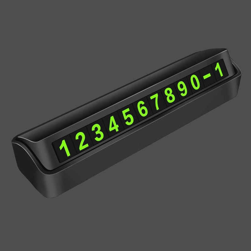 Niome Car Parking Card Luminous Phone Number Plate Stickers Night Light Temporary Car Park Stop Accessories Black