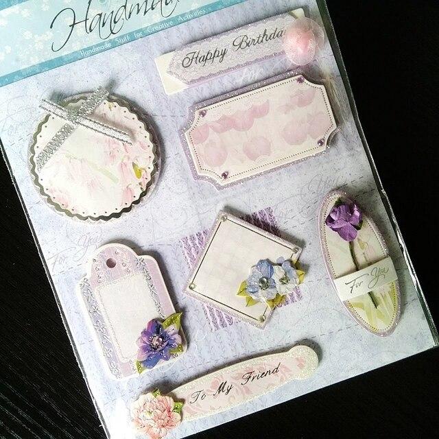 3D papel chica pegatinas en blanco color violeta serie para ...