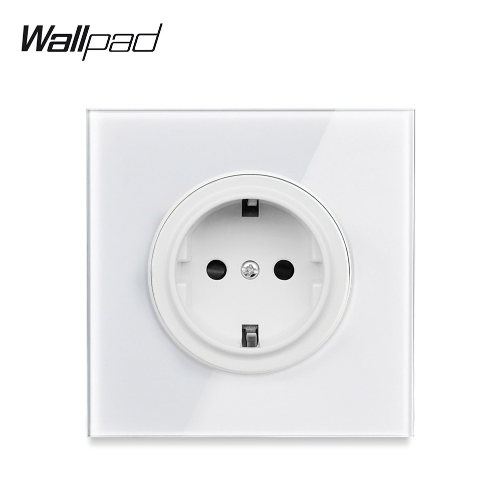 L6 Pure White Glass EU Electrica Wall Socket German Power Outlet Schuko With Children Protection
