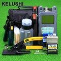 KELUSHI 20 В 1 FTTH-Fiber Optic Tool Kit с 10 МВт Визуальный Дефектоскоп и Измеритель Оптической Мощности FC-6S Волокна кливер