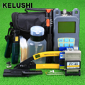 KELUSHI 20 In 1 Fiber Optic FTTH Tool Kit with 10Mw Visual Fault Locator and Optical Power Meter FC-6S Fiber Cleaver