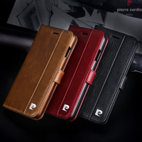 Pierre Cardin Brand For IPhone X Phone Case Genuine Leather Magnetic Book Flip Stand Wallet Card