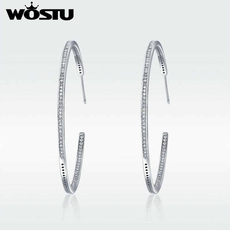 WOSTU מותג באיכות גבוהה מסנוור CZ גדול עגילי חישוק לנשים לבן זהב צבע תכשיטים Brincos מתנה SDTE115