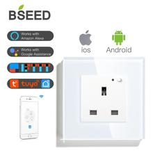 BSEED UK Wall Socket With Wifi Function Smart WIFI White Black Golden Colors 86*86mm