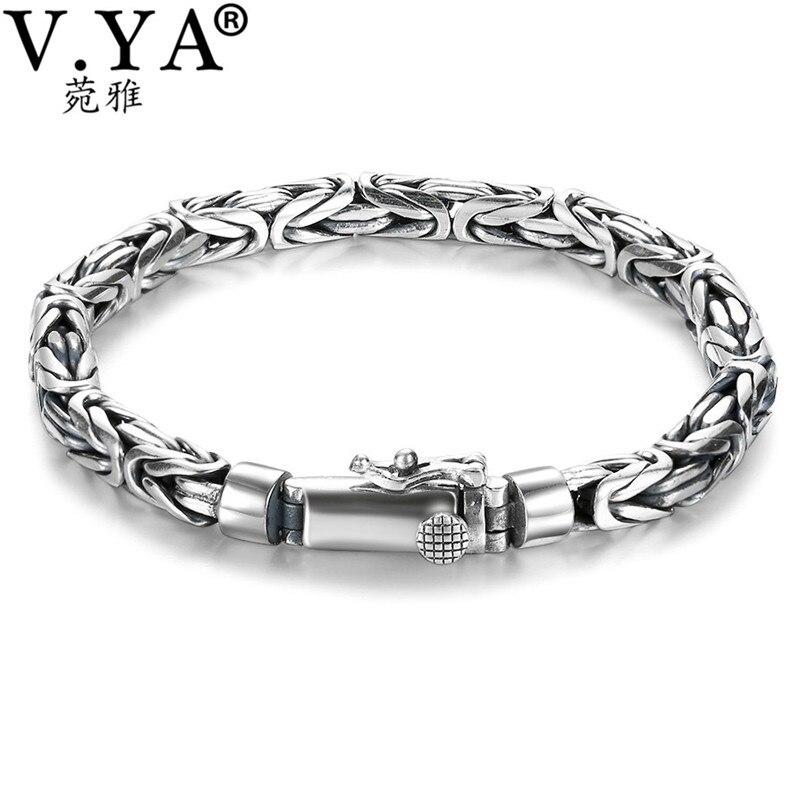 V.YA Solid 925 Sterling Silver Bracelets for Men Cool Punk Style 5-8mm Heavy bracelet argent homme Men's Jewelry BY028