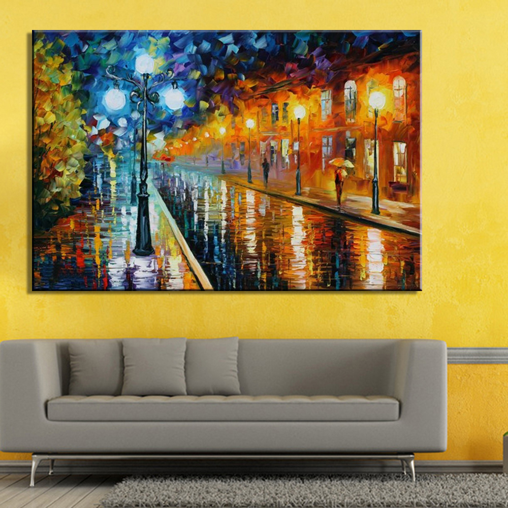 Hand Painted Textured Palette Knife Rainy Night Street Oil Painting ...