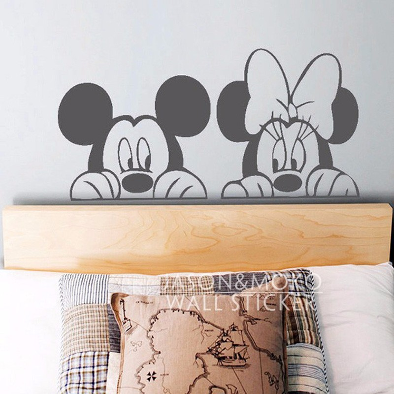 W006 cartoon mickey minnie mouse cute animal vinyl wall for Cartoon mural wallpaper