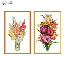 Joy Sunday Gladiolus Flowers Cross Stitch Patterns Canvas 11CT 14CT Counted Kits for Embroidery DMC DIY Needlework