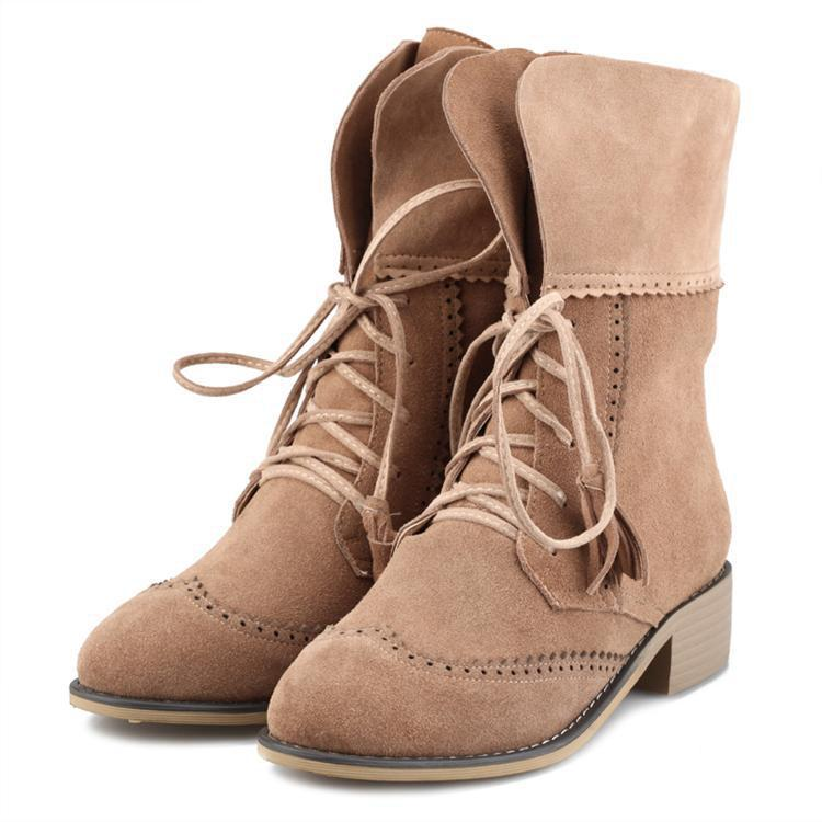 2015 New Arrival Spring Auutmn Women Low Heel Genuine Leather Round Toe Lace Up Fashion Casual Ankle Boots Size 34-39 SXQ0826 women spring autumn thick mid heel genuine leather round toe 2015 new arrival fashion martin ankle boots size 34 40 sxq0902