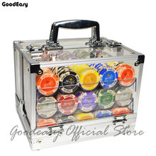 600/1000PCS Texas Hold'em Pokerstars Clay Poker Chips Set+Acrylic Box++Trays+Playing Cards+Dices+Dealer Buttons+Flannelette Bag(China)