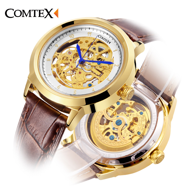 где купить  Comtex Men Wristwatch Automatic Mechanical Sapphire Mirror Skeleton Watches Casual Waterproof Luxury Brand Business Watch gift  по лучшей цене
