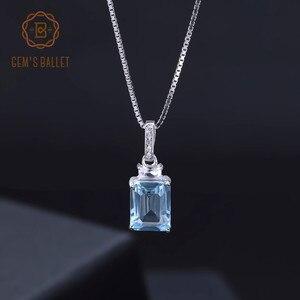 Image 2 - Gems Ballet Natural rectángulo Topacio azul cielo piedra preciosa Plata de Ley 925 colgantes clásicos y Collar para mujeres joyería fina
