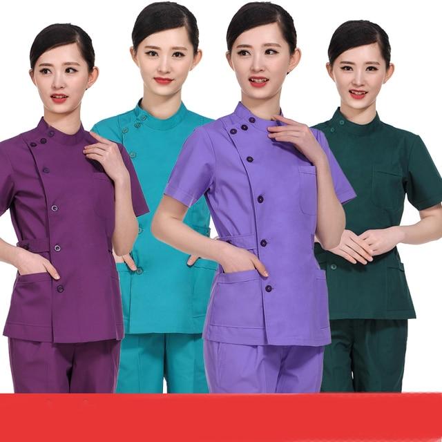 5e684b992e5 women hospital medical scrub clothes set sale design slim fit dental scrubs  beauty salon nurse uniform Two-piece suit Overalls