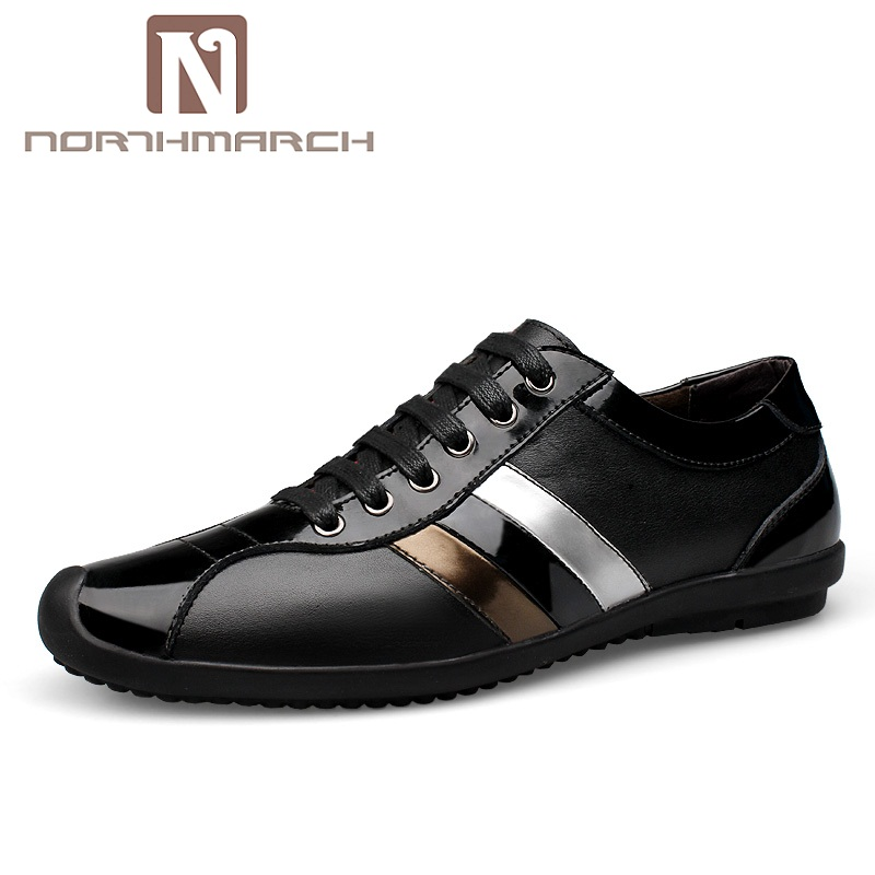 NORTHMARCH 2018 New Spring Tenis Lace-Up Breathable Shoes Man Genuine Leather Casual Men Shoes Sneakers Footwear Men Human Race men s casual shoes breathable black men shoe mens fashion genuine leather man footwear spring autumn 2017 new