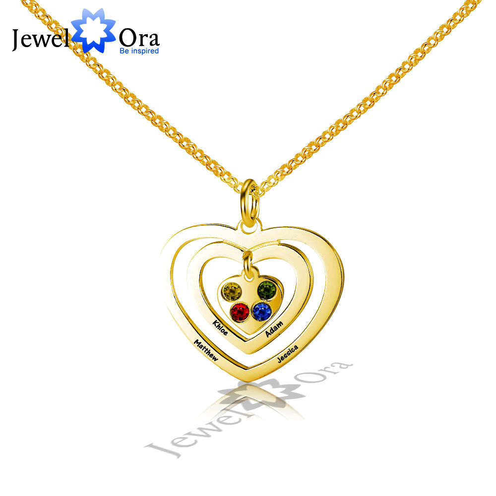 Love Promise Lovers Gift Personalize Birthstone 925 Sterling Silver Hollow Heart Name Engrave Necklace (JewelOra NE101614)Love Promise Lovers Gift Personalize Birthstone 925 Sterling Silver Hollow Heart Name Engrave Necklace (JewelOra NE101614)