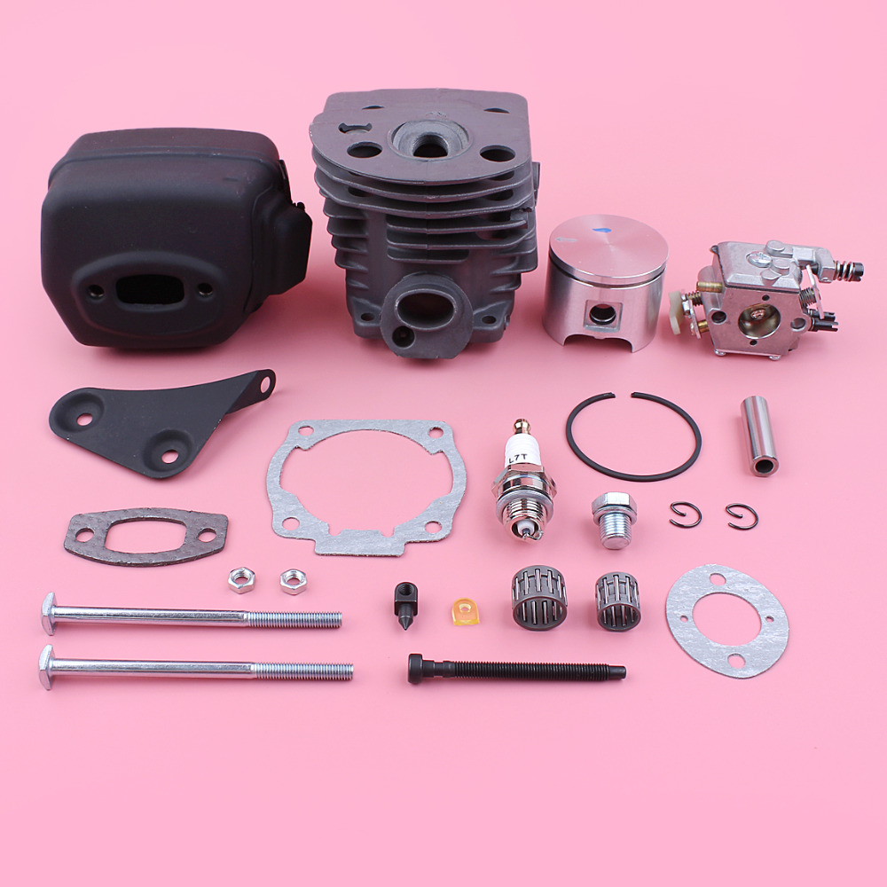46mm Cylinder Piston Carburetor Kit For Husqvarna 55 51 Exhaust Muffler Bracket Gasket Bolt Needle Bearing Chainsaw Replace Part цена