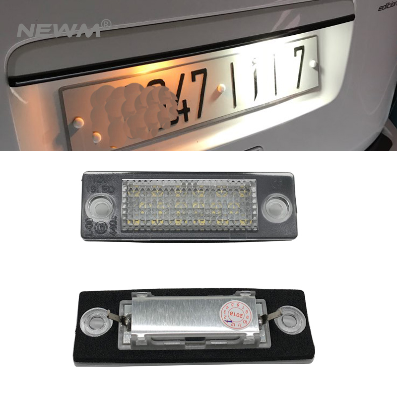 2Pcs LED License Plate Light 18LEDs Number Plate Light For VW/Golf/Jetta/Caddy MK/Passat/Touran/T5 Transporter/Skoda 12V 2pcs led license plate light for vw golf caddy passat transpiarter skoda superb 18 leds car lamp high quality car styling