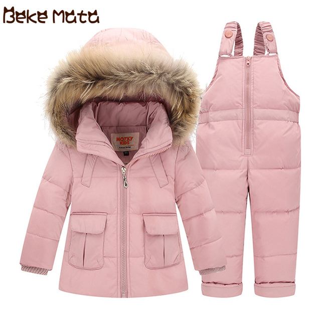 6aa742549 BEKE MATA Baby Snowsuit Winter 2018 New Solid Kids Coats Girls Thick ...