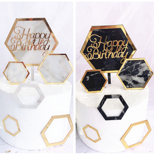 Image 1 - New INS Marble Acrylic Cake Topper Hexagon Gold Happy Birthday Cake Topper For Kids Birthday Party Cake Decorations Baby Shower