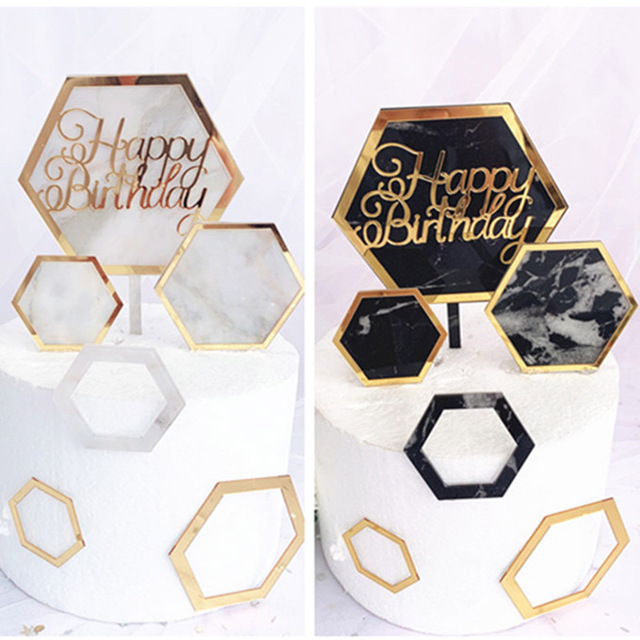 New INS Marble Acrylic Cake Topper Hexagon Gold Happy Birthday Cake Topper For Kids Birthday Party Cake Decorations Baby Shower