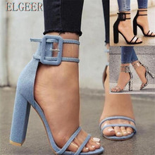 20185 Summer Explosion Thick with High-heeled Buckle Large Size Women Sandals Casual Fashion womens