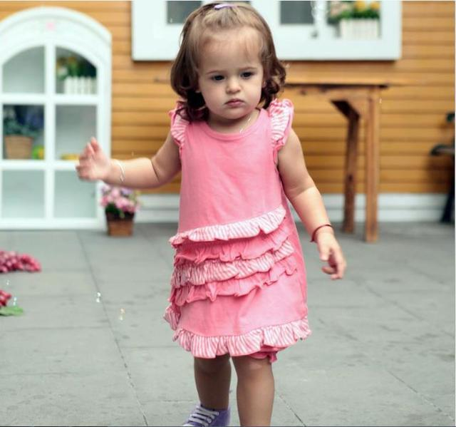 Online wholesale baby dress pink cotton cute short sleeve baby girl summer garment wear kids cloth ruffles dresses free shipping