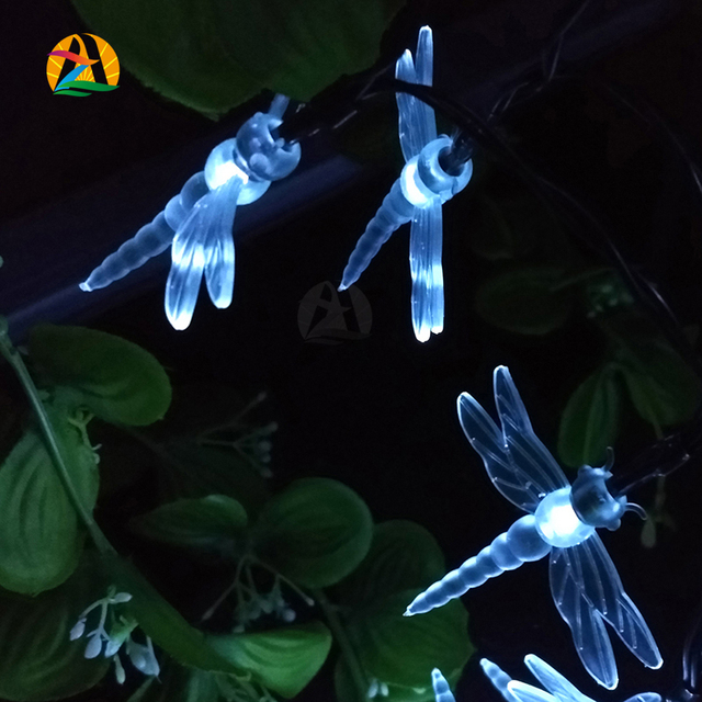 Party Holiday Wedding Hotels Bars Parks Decoration Lighting Strings Garden Dragonfly Solar LED Garlands String Lights 12M 100LED