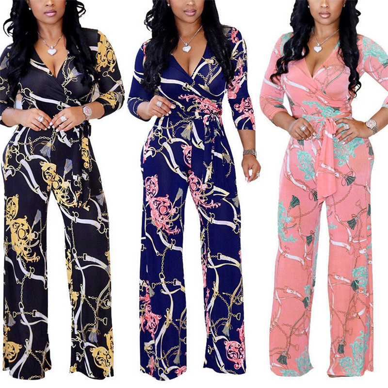 Plus Size Womens V-Neck Long Sleeve Jumpsuit Fashion Ladies Autumn Clubwear Floral Print Playsuit Party Jumpsuit Long Trousers