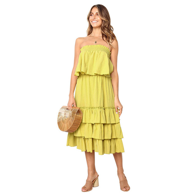 f6226a0d677 Lossky Casual Women s Spring And Summer Dress 2019 New Solid Tube Top Dress  Loose Cake Ruffle Dresses Elegant Women Midi Dress