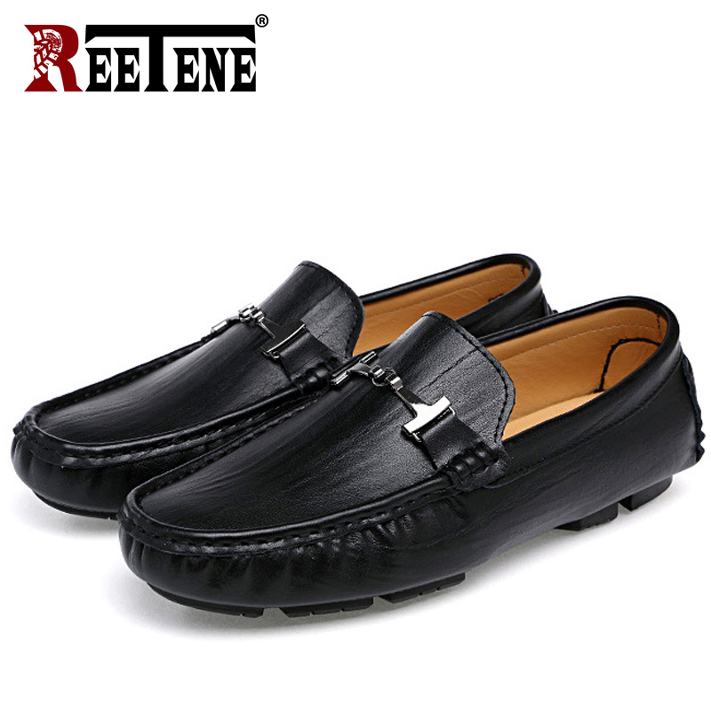 REETENE High Quality Leather Men Loafers Genuine Leather Men Flats Moccasins Fashion Comfortable Driving Shoes Men Size 38-48 цена и фото