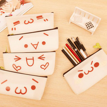 1Pcs Students simple boys and girls Pen bag Cute sprouting expression grass long Yan admission bag Cosmetic storage bag 7z-za430