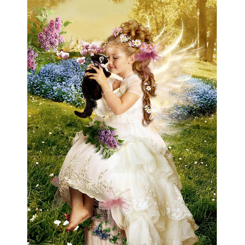 5D Diy Diamond painting angel girl Daimond Mosaic painting full picture of Rhinestones portrait Diamant Embroidery children gift in Diamond Painting Cross Stitch from Home Garden
