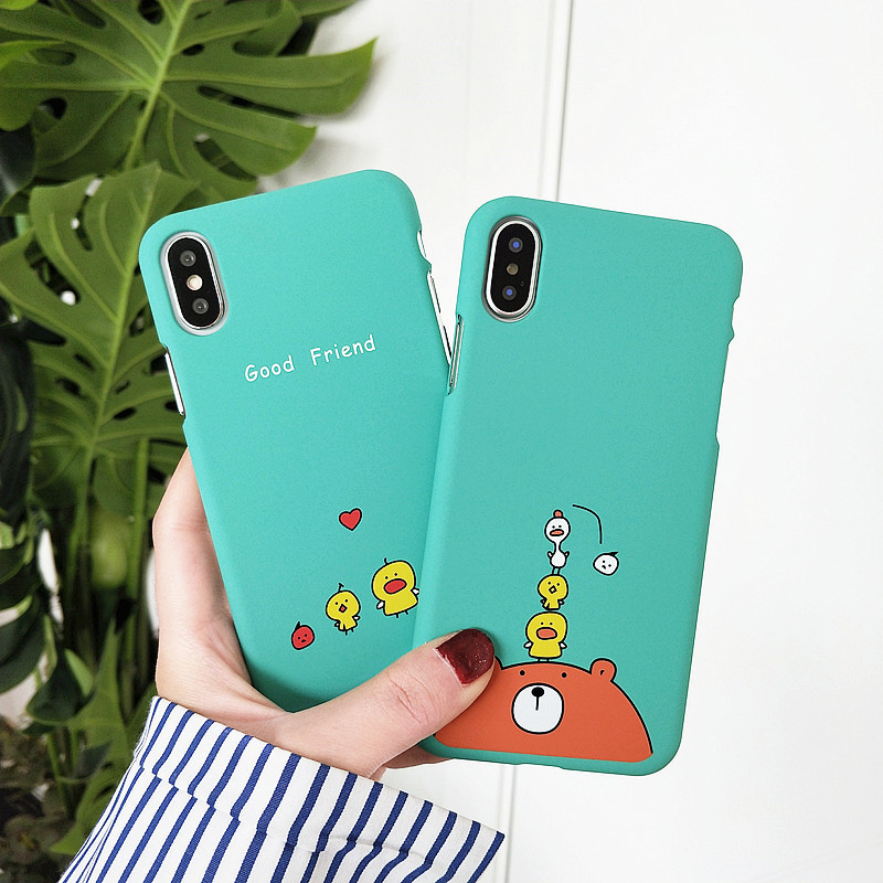 Animal Cartoon Phone <font><b>Case</b></font> For <font><b>iphone</b></font> X <font><b>6</b></font> 6s 7 7Plus Cute Animals Bear <font><b>Chicken</b></font> Hard Plastic <font><b>case</b></font> For <font><b>iphone</b></font> 8 8plus back cover image