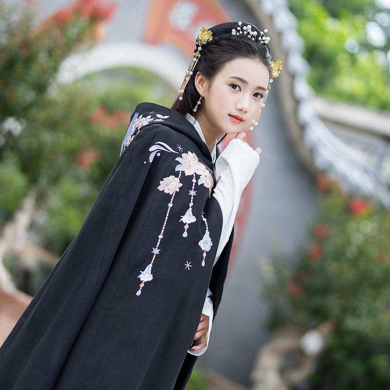 Outwear Cosplay Cape Manteau Long Broder Halloween Laine À Cachemire Capuche Femmes Chinois 0wHqRxvR4
