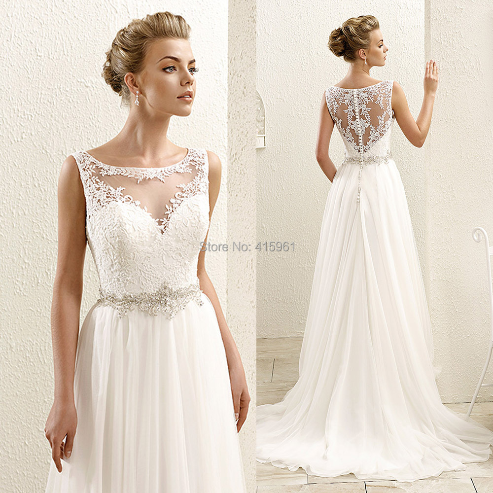 Cheap beach wedding dresses bohemian scoop tank lace Inexpensive beach wedding dresses