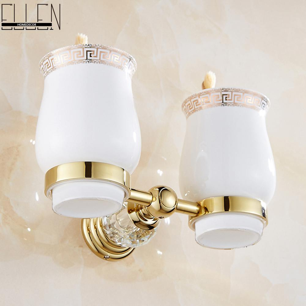 Luxury Crystal Brass Gold Bathroom Double Tumble Holder