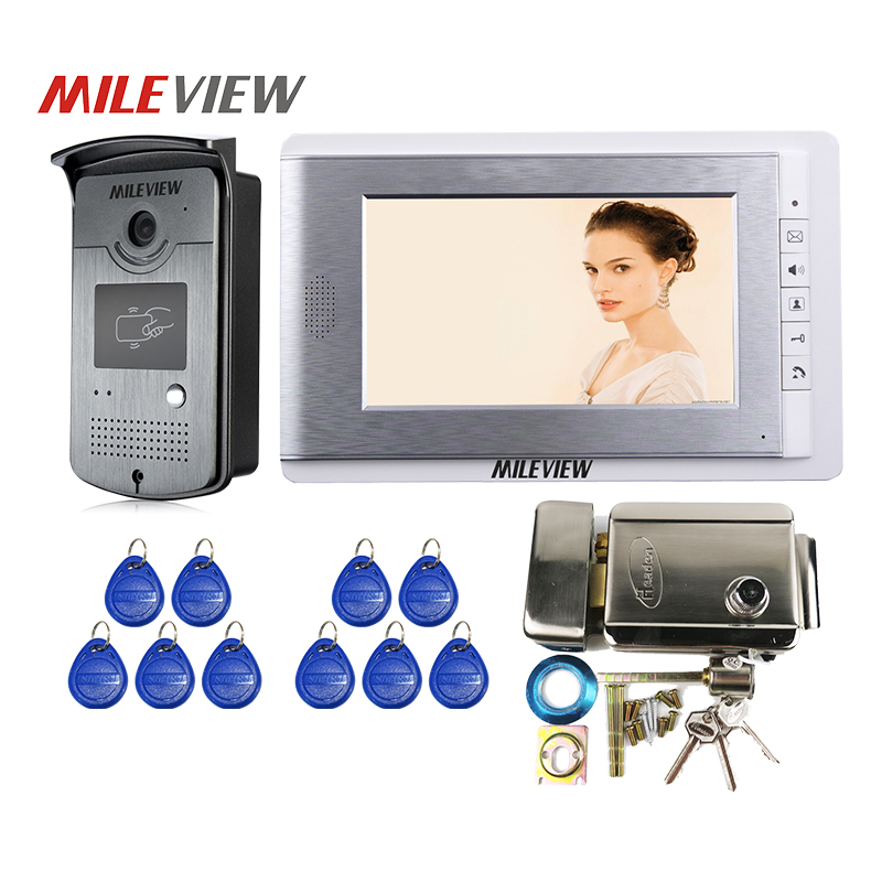 FREE SHIPPING 7 inch LCD Screen Video Door Phone Intercom System 1 Monitor + RFID Access Door Camera + Electric Mechanical Lock free shipping 7 inch color video door phone diy intercom monitor screen indoor station for intercom system without camera