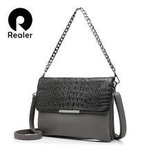 55a75b6b4cd7a REALER marque femmes messenger sacs pochettes mode dames sac à bandoulière  motif crocodile en cuir artificiel sac à main chaîne .